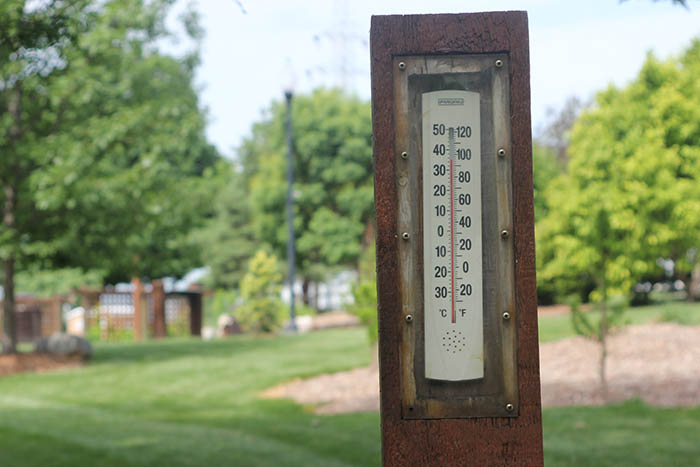 Outdoor thermometer at the OPPD Arboretum