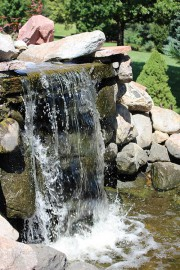 arboretum in summer, waterfall at pond