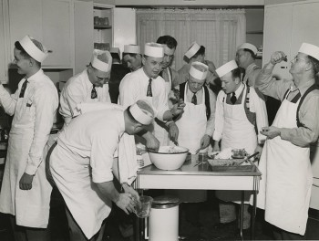"""Men from OPPD's Service Department took part in the first """"Clumsy Chef"""" class in 1947."""