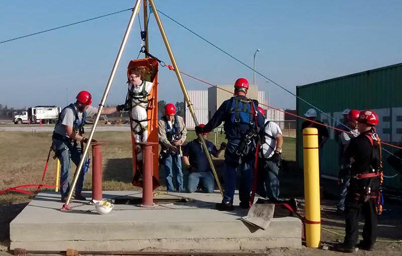 Rope rescue team drills on emerging danger
