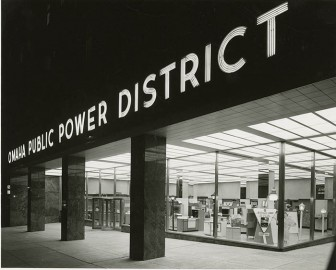 "The ""Electric Shop"" at OPPD's downtown headquarters shines onto the street outside. The shop featured the newest electric appliances for sale at area dealers. OPPD archive photo"