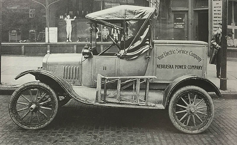 This early Ford automobile was used by Nebraska Power Company (predecessor of OPPD) around 1920.
