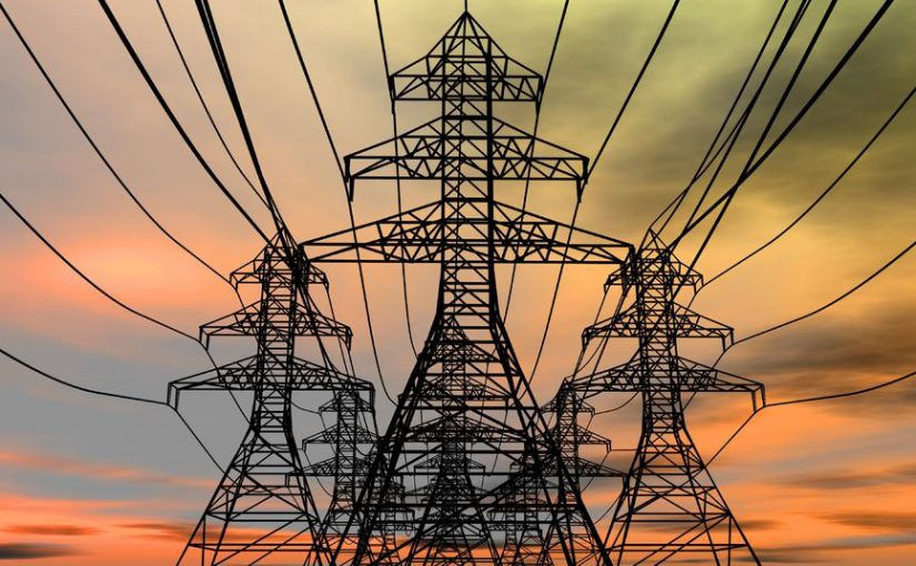 8820091 – energy towers on an  electric sky background. 3d rendered image.