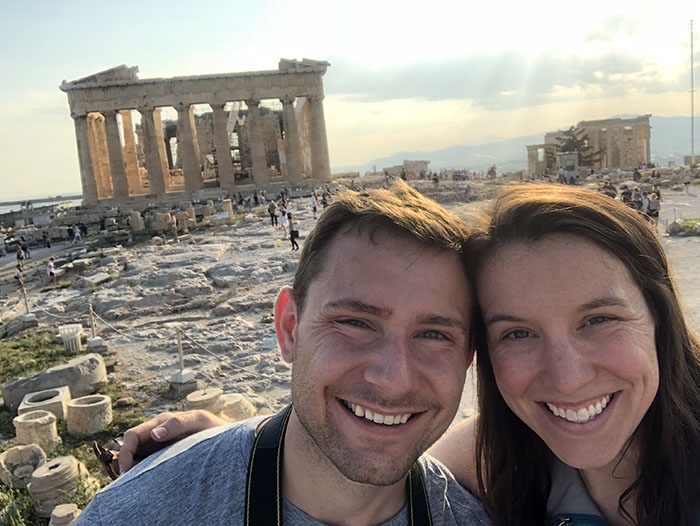 Courtney Kennedy and her husband, Colton, who is also an employee at OPPD, near the ancient ruins in Greece..