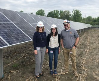 Kennedy and her team at the site of OPPD's community solar project near Fort Calhoun, Neb.