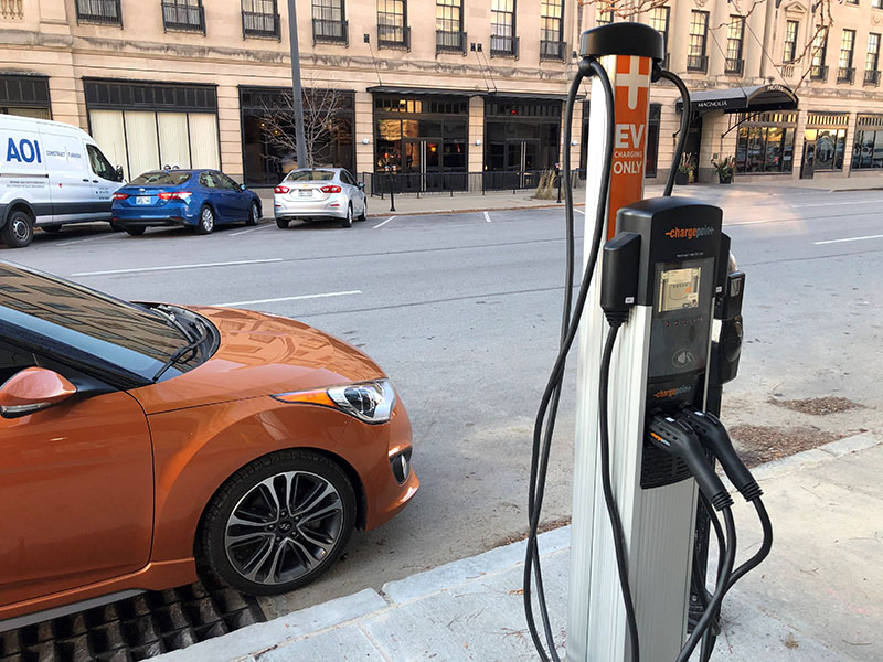 EV grant, example of an EV charger in downtown Omaha
