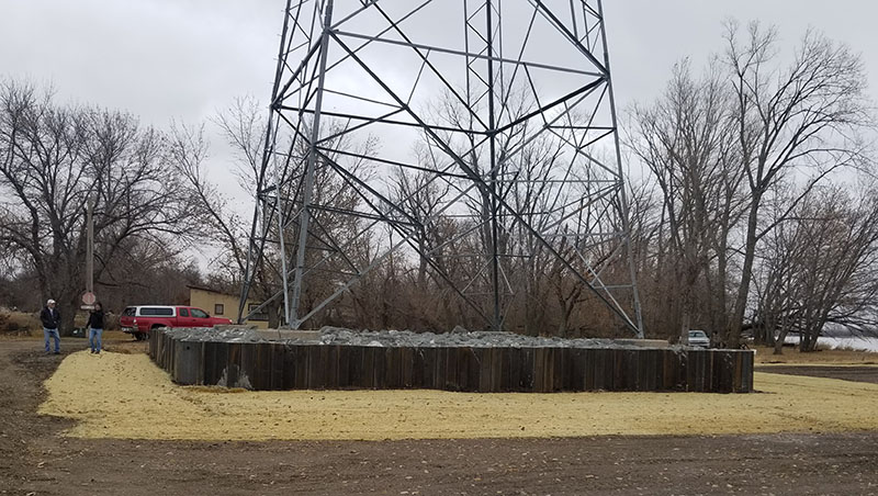 base of a transmission structure near the Platte River