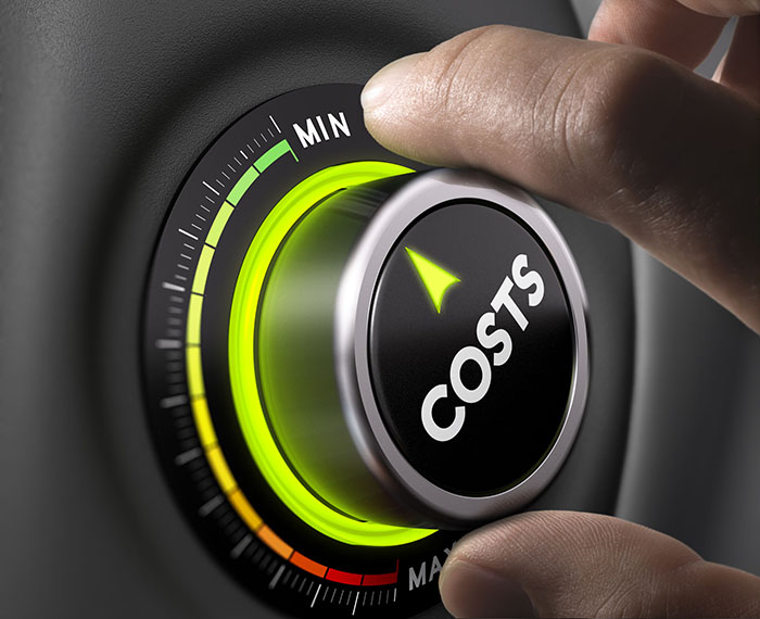 Man fingers setting cost button on minimum position. Concept image for illustration of cost management. rate calculator