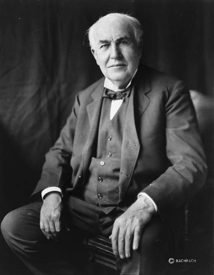 Public domain portrait of American inventor Thomas Edison from the Library of Congress.