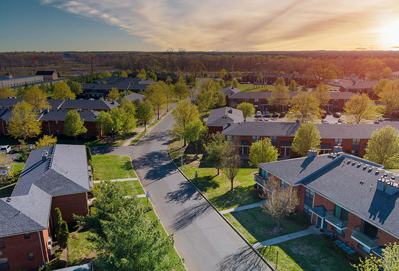 Aerial view urban landscape on apartment complex small american town